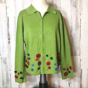 Acorn Green Embellished Zip Sweater